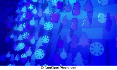 """""""A jovial 3d rendering of Christmas holiday silouettes forming fest and showing snowmen, fir trees, gift boxes spinning around in the blue background in seamless loop."""""""