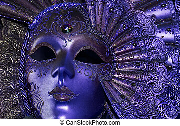 Celebratory dark blue mask with a jewel