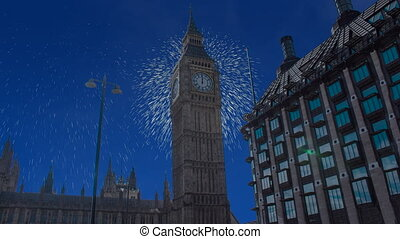 Celebratory fireworks for new year over big ben tower or clock in London, united kingdom ( UK ) during last night of year. Christmas atmosphere