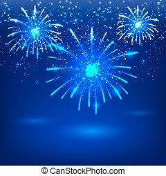 Celebratory fireworks on a blue bac