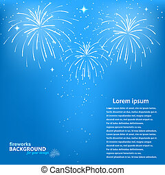 Celebratory fireworks on a blue background