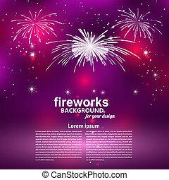 Celebratory fireworks on a purple background. Card. Vector illus