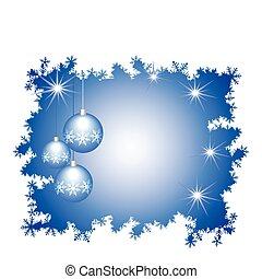 celebratory, jaar, bolen, verfraaide, nieuw, glas, kader