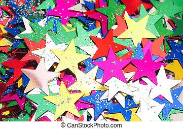 celebratory, plano de fondo, de, color, stars., macro