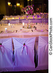 Celebratory tables in the banquet hall