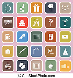 celebrazione, appartamento, icone, su, sfondo rosa