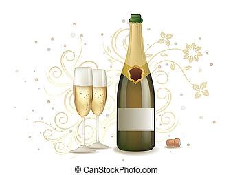 celebrazione, con, champagne