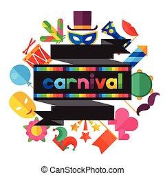 celebrazione, festivo, fondo, con, carnevale, appartamento, icone, e, oggetti