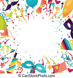 celebrazione, festivo, fondo, con, carnevale, icone, e, objects.