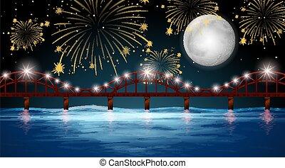 celebrazione, fireworks, fondo, fiume, vista