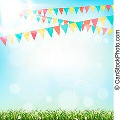 celebrazione, fondo, con, buntings, erba, e, luce sole, su,...
