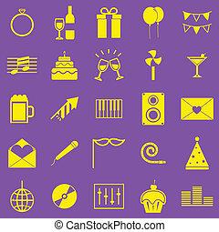 celebrazione, giallo, icone, su, viola, fondo