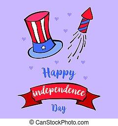 celebrazione, indipendenza, cartolina auguri, giorno