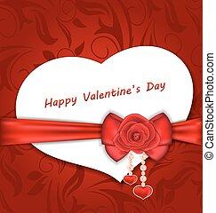 celebrazione, scheda, cuore ha modellato, con, seta, arco, e, rosso sorto, per, giorno valentines