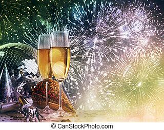 celebrazioni, due, contro, anno, nuovo, bicchieri champagne