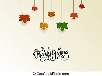 celebrazioni, foglie, augurio, ringraziamento, disegno, scheda, appendere, lettering., giorno, acero, felice