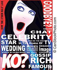 celebridad, cubierta, revista