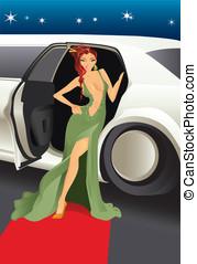 celebrità, vettore, moquette rossa