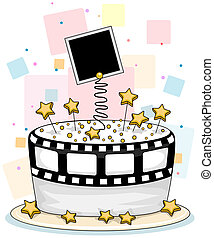 Celebrity Cake - Illustration of a Cake with a Star/...