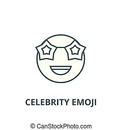 Celebrity emoji line icon, vector. Celebrity emoji outline ...
