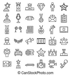 Celebrity famous icons set, outline style - Celebrity famous...