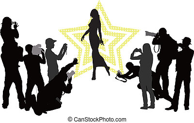 Celebrity - Group of people with camera and elegant woman....