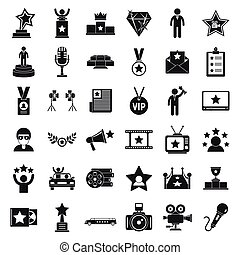 Celebrity icons set, simple style - Celebrity icons set. ...