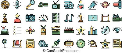 Celebrity icons set vector flat - Celebrity icons set. ...