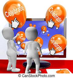 celebrowania, internet, partie, balony, świętować, podły