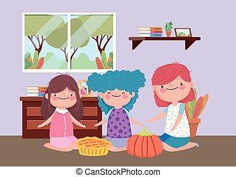 celebrowanie, ciastko, dziękczynienie, dzieciaki, dynia, szczęśliwy uśmiechnięty