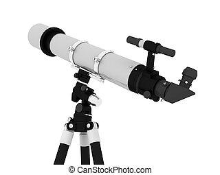 Celectial telescope on tripod islotaed on white background