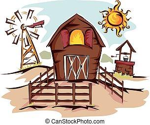 celeiro, casa, ilustração