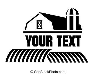 celeiro, e, fazenda, ícone