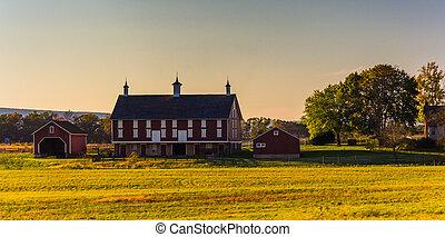 celeiro, ligado, um, fazenda, em, gettysburg, pennsylvania.