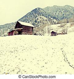 celeiro madeira velho, em, alpes, montanhas, em, inverno