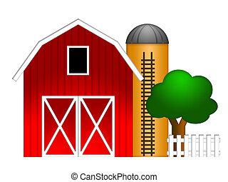 celeiro vermelho, com, silo grão, ilustração