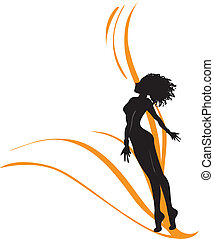 One-color monochromatic vector drawing with silhouette of the beautiful young girl which aspires to the sky