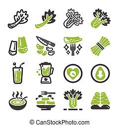 celery icon set - celery and produce icon set, vegetable ...