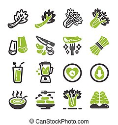 celery icon set - celery and produce icon set,vegetable...