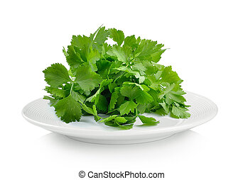 celery in plate on white background