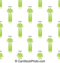 Celery seamless pattern on the white background. Vector...