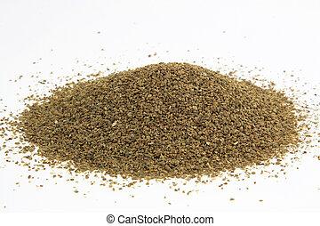 Celery seeds. - Pile seeds from Celery used as seasoning for...
