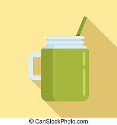 Celery smoothie icon, flat style