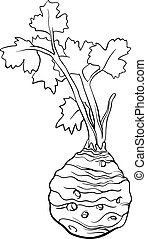 celery vegetable cartoon for coloring book - Black and White...