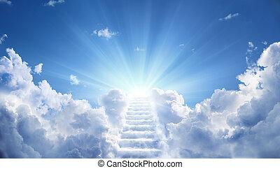 celeste, condurre, cielo, su, verso, scala, luce