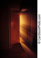 celeste, raggi luce, dietro, il, porta