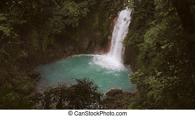 Celeste river waterfall, Tenorio Volcano, Costa Rica - Super...