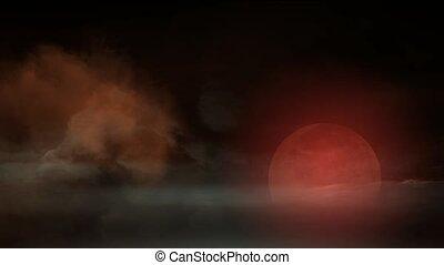celestial body, cloud cover moon, fairyland.