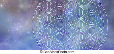 Celestial Flower of Life Symbol Background Banner