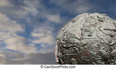 Celestial globes-- Moscow, Russia - Celestial globes-- near...